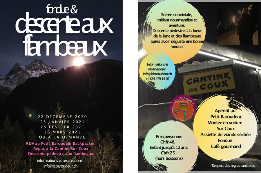 Séjour fondue-flambeau-2021 _ Petit Baroudeur Backpacker _ Champéry